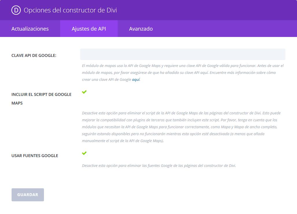 Divi Builder - Opciones del plugin - API