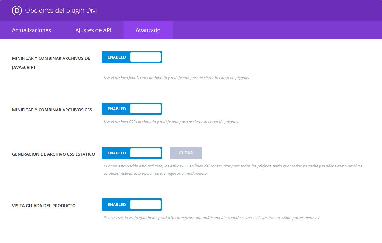 Divi Builder - Opciones del plugin - Avanzado