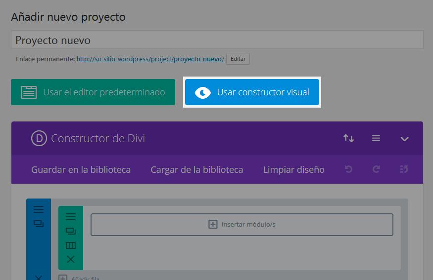 Divi - Usar el constructor visual para el nuevo proyecto